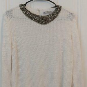 Zara Knit sweater with beaded collar